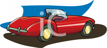 clip art illustration of a red convertible