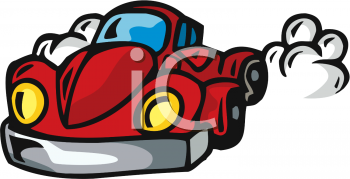 clip art illustration of a red car speeding off
