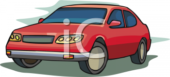 clip art image of a parked red economy car