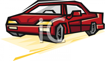 clip art illustration of a red car