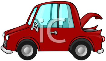 clip art image of a red economy car with the trunk lid open
