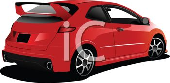 clip art illustration of a red hybrid car with a spoiler on the back