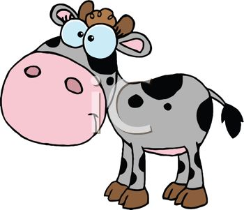 Picture of a baby cow With Black Spots in a Vector clip art illustration
