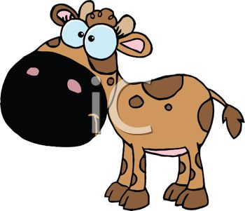 picture of a brown cow with dark brown spots In a vector clip art illustration