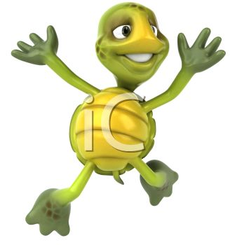 cartoon of a happy turtle jumping into the air on a white background in a vector clip art image