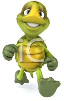 cartoon image of a happy turtle walking confidently in long strides in a vector clip art illustration