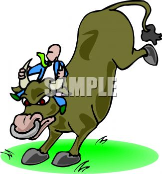 Clip Art Illustration of man riding an angry bull kicking up his back legs. The man is hanging onto the bull horns