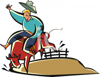 Cartoon Of a cowboy riding a bull in a vector clip art illustration
