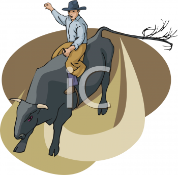 clip art illustration of a cowboy riding a bull in a rodeo