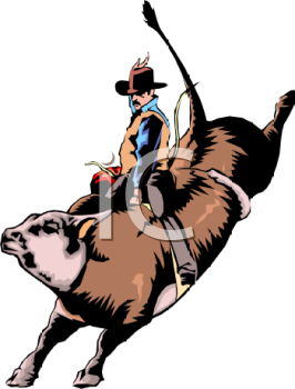 clip art illustration of a cowboy riding a wild bull kicking his legs up high