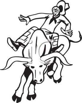 black and white illustration of a cowboy riding a bull with no hands