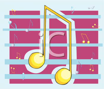 clip art illustration of a yellow musical note on a blue staff with a purple background
