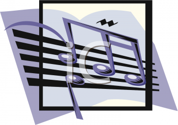 clip art image of musical notes on a staff in a vector illustration