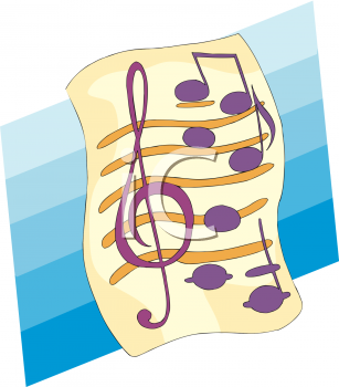 image of sheet music with a treble clef and music notes on a blue background in a vector clipart illustration