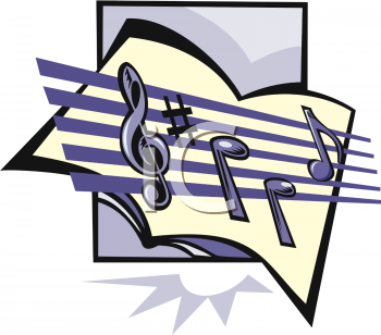 image of musical notes and treble clef on a staff in a vector clip art illustration