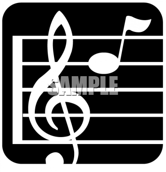 image of a treble clef and music notes on a staff with a black background in a vector clip art illustration