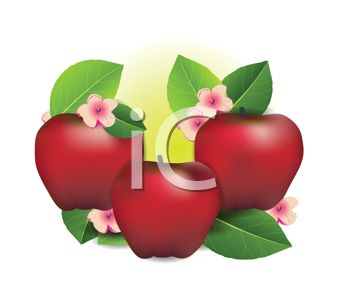 clip art illustration of red shiny apples with green leaves and pink flowers