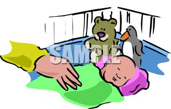 Clip Art illustration Of A Baby sleeping In His Crib