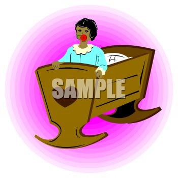 clip art illustration of a toddler standing up in her crib with a pacifier