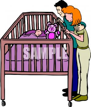 clip art illustration of Parents admiring their sleeping baby in his crib