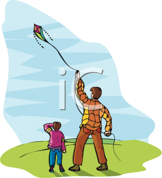 clip art illustration of a man and his son flying a kite on a sunny day
