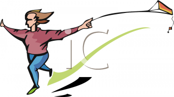clip art illustration of a girl running and flying her kite