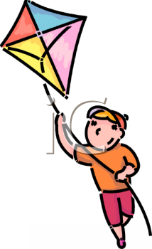 clip art illustration of a boy flying his kite