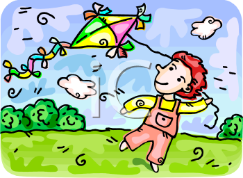 clip art illustration of a girl flying a kite in a grassy, sunny, field