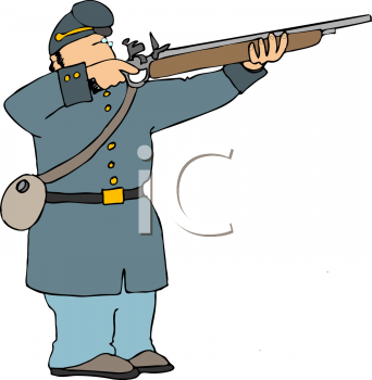 clip art illustration of a soldier shooting a rifle