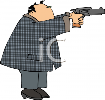 clip art image of a man shooting a pistol