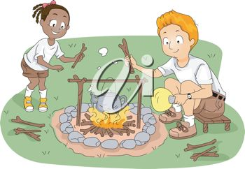 clip art image of two children cooking over a campfire