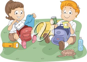 clip art image of two young children camping and eating their lunches out of their backpacks