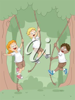 Clip Art Illustration of children camping and swinging on ropes in the trees