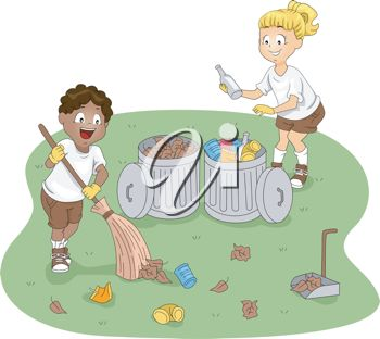 Clip Art illustration of children cleaning up a campsite