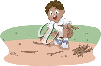 clip art illustration of a young boy gathering firewood for the campfire