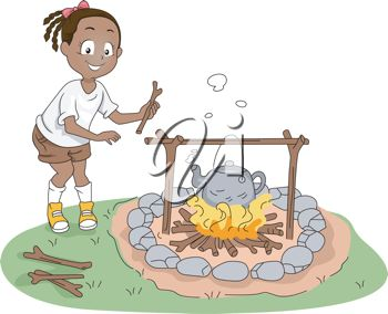clip art illustration of a young girl adding firewood to the campfire