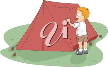 clip art image of a boy setting up his tent at the campsite