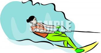 clip art illustration of a woman water skiing on a lake