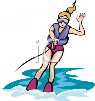 clip art illustration of a woman water skiing with one hand and waving with the other hand