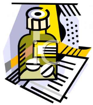 clip art illustration of a bottle of prescription pills on a shelf