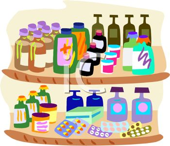 Clip Art illustration of bottles of prescription medications on a shelf