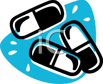 Picture Of prescription capsules on a blue background in a vector clip art illustration