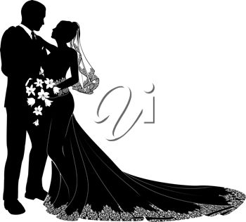 clip art silhouette of a bride and groom embracing each other and looking in each other's eyes.