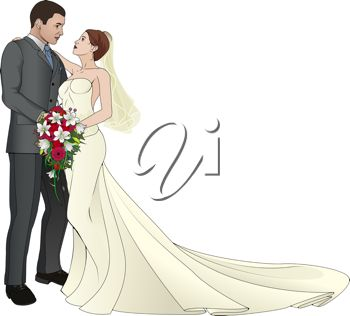 clip art of a newlywed couple embracing each other on their wedding day