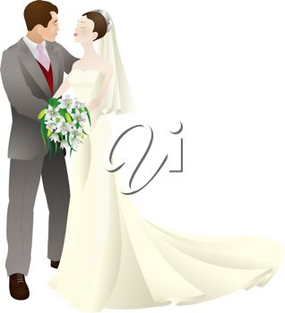 clip art illustration of a bride and a groom in love on their wedding day