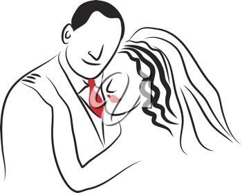 clip art illustration of newlyweds embracing on their wedding day