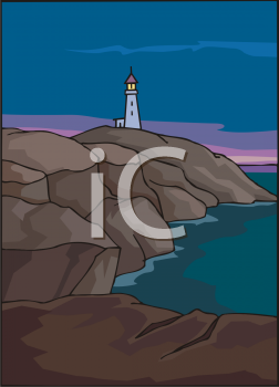Clip Art Illustration Of a lighthouse on top of a hill on the ocean