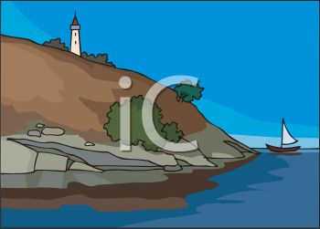 clip art illustration of a lighthouse at the top of the hill by the ocean
