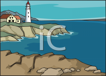 clip art illustration of a lighthouse and a home on the edge of the ocean