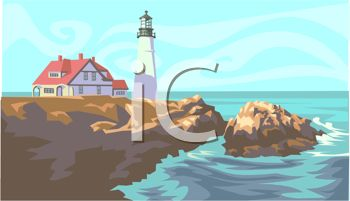 clip art illustration of a beautiful lighthouse on the edge of an ocean